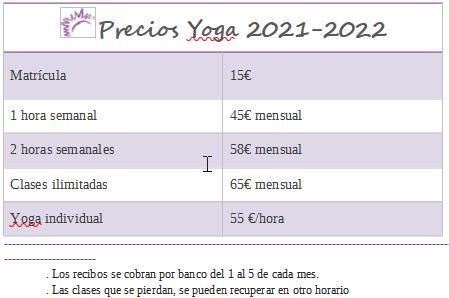 Precios Yoga 2021-2022